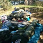 Vyskladaná výbava na týdenní lov